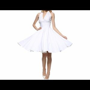 White Swing Dress With Halter Tie at the Neck